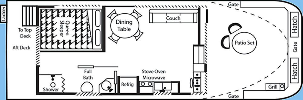 13' x 38' Wide Body Couples Boat Floor Plan