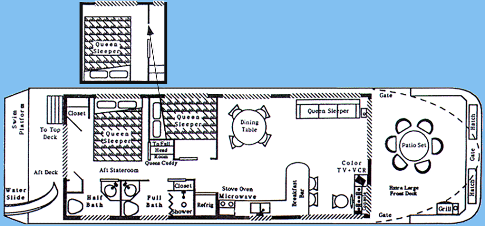 15x52' wide boathouse floor plan