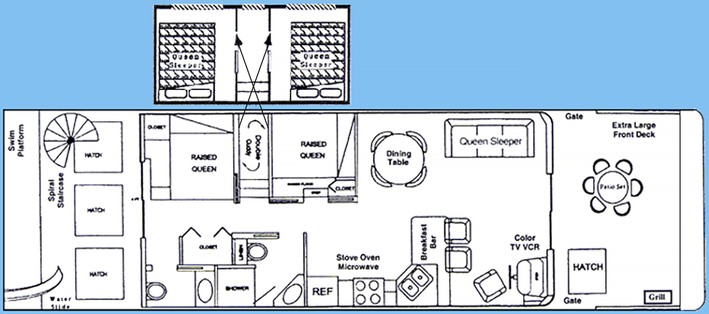 16x56' Operating Flybridge Boathouse Floor Plan