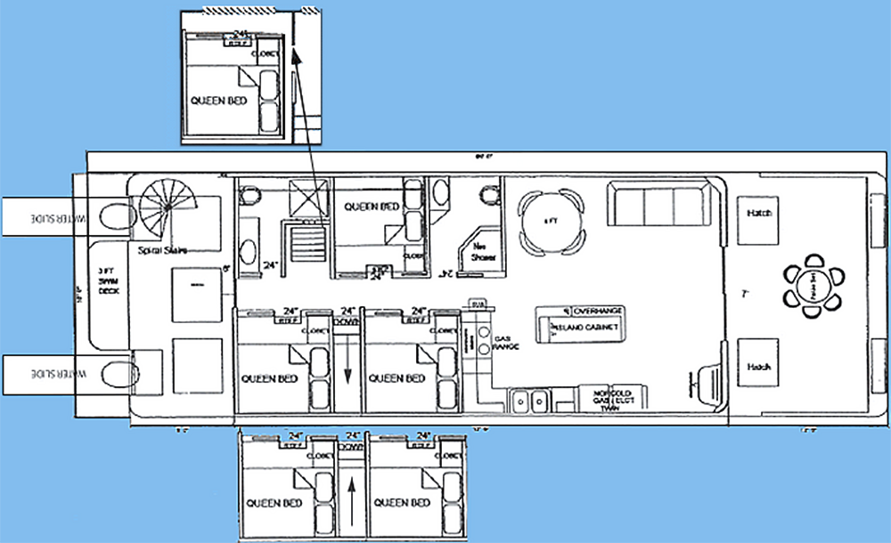 18x61' Wide Boathouse Floor Plan