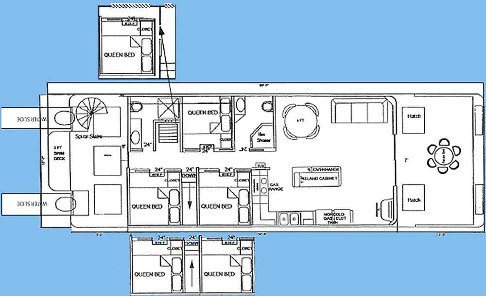 18x61' Wide Boathouse Floor Plan